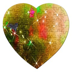 Star Christmas Background Image Red Jigsaw Puzzle (Heart)