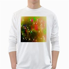 Star Christmas Background Image Red White Long Sleeve T-Shirts