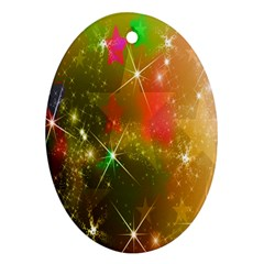 Star Christmas Background Image Red Oval Ornament (Two Sides)