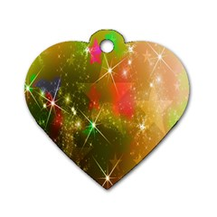Star Christmas Background Image Red Dog Tag Heart (Two Sides)