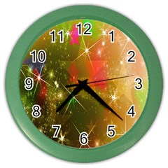 Star Christmas Background Image Red Color Wall Clocks