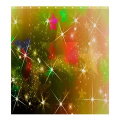 Star Christmas Background Image Red Shower Curtain 66  X 72  (large)