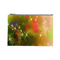 Star Christmas Background Image Red Cosmetic Bag (Large)