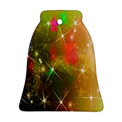 Star Christmas Background Image Red Bell Ornament (Two Sides)