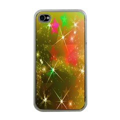 Star Christmas Background Image Red Apple iPhone 4 Case (Clear)