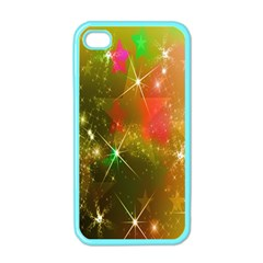 Star Christmas Background Image Red Apple iPhone 4 Case (Color)