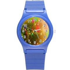 Star Christmas Background Image Red Round Plastic Sport Watch (s)