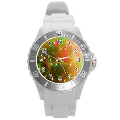Star Christmas Background Image Red Round Plastic Sport Watch (l)