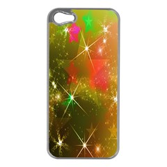 Star Christmas Background Image Red Apple Iphone 5 Case (silver)