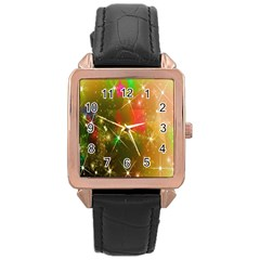Star Christmas Background Image Red Rose Gold Leather Watch