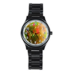 Star Christmas Background Image Red Stainless Steel Round Watch