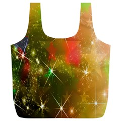 Star Christmas Background Image Red Full Print Recycle Bags (l)