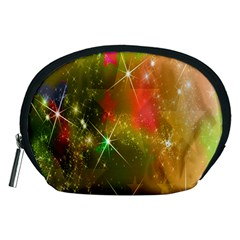 Star Christmas Background Image Red Accessory Pouches (medium)