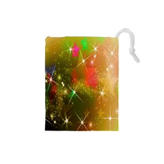 Star Christmas Background Image Red Drawstring Pouches (Small)