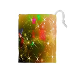 Star Christmas Background Image Red Drawstring Pouches (medium)