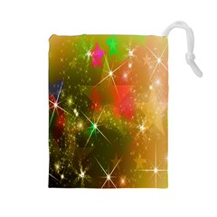 Star Christmas Background Image Red Drawstring Pouches (large)