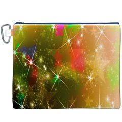 Star Christmas Background Image Red Canvas Cosmetic Bag (xxxl)