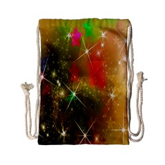 Star Christmas Background Image Red Drawstring Bag (small)