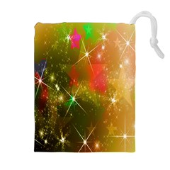 Star Christmas Background Image Red Drawstring Pouches (Extra Large)