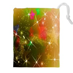 Star Christmas Background Image Red Drawstring Pouches (XXL)