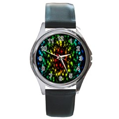 Star Christmas Curtain Abstract Round Metal Watch