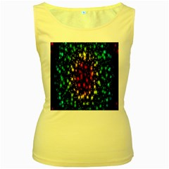 Star Christmas Curtain Abstract Women s Yellow Tank Top