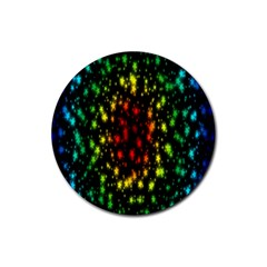 Star Christmas Curtain Abstract Rubber Coaster (round)