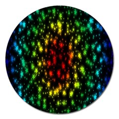 Star Christmas Curtain Abstract Magnet 5  (round)