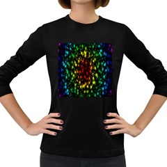 Star Christmas Curtain Abstract Women s Long Sleeve Dark T-Shirts