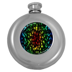 Star Christmas Curtain Abstract Round Hip Flask (5 oz)