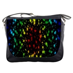 Star Christmas Curtain Abstract Messenger Bags