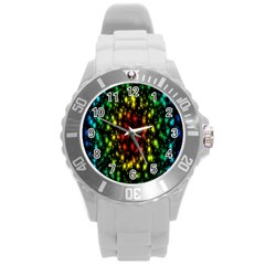 Star Christmas Curtain Abstract Round Plastic Sport Watch (L)
