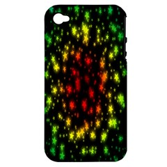 Star Christmas Curtain Abstract Apple iPhone 4/4S Hardshell Case (PC+Silicone)