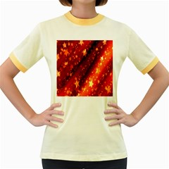 Star Christmas Pattern Texture Women s Fitted Ringer T-Shirts