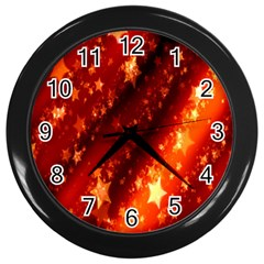 Star Christmas Pattern Texture Wall Clocks (black)