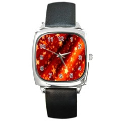 Star Christmas Pattern Texture Square Metal Watch