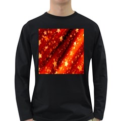 Star Christmas Pattern Texture Long Sleeve Dark T-Shirts