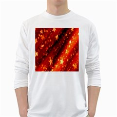 Star Christmas Pattern Texture White Long Sleeve T-Shirts