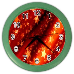 Star Christmas Pattern Texture Color Wall Clocks