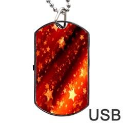 Star Christmas Pattern Texture Dog Tag USB Flash (One Side)