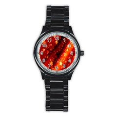 Star Christmas Pattern Texture Stainless Steel Round Watch