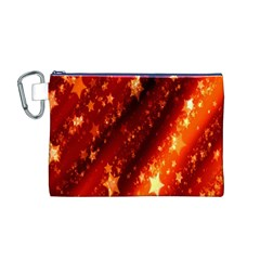Star Christmas Pattern Texture Canvas Cosmetic Bag (m)