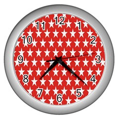 Star Christmas Advent Structure Wall Clocks (Silver)