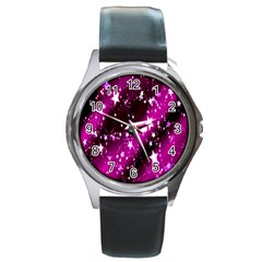 Star Christmas Sky Abstract Advent Round Metal Watch