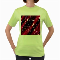 Star Christmas Sky Abstract Advent Women s Green T-Shirt