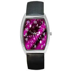 Star Christmas Sky Abstract Advent Barrel Style Metal Watch