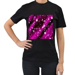 Star Christmas Sky Abstract Advent Women s T Shirt (black) (two Sided)
