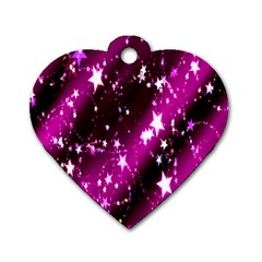 Star Christmas Sky Abstract Advent Dog Tag Heart (One Side)