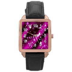 Star Christmas Sky Abstract Advent Rose Gold Leather Watch