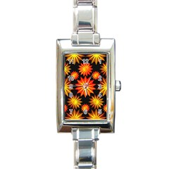 Stars Patterns Christmas Background Seamless Rectangle Italian Charm Watch